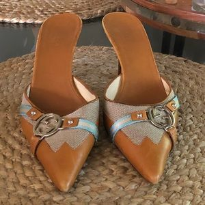 Tan and Sky blue Heel Slippers